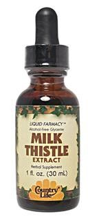 Milk Thistle Extract, Alcohol-Free (1 oz) Country Life