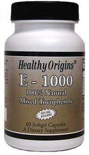 Vitamin E 1000 IU (60 Gels) Healthy Origins