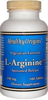Sustained Release L-Arginine 350mg (180 tablets) Healthy Origins