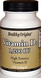 Vitamin D 1200 IU (180 Gels) Healthy Origins