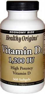 Vitamin D 1200 IU (360 Gels) Healthy Origins