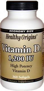 Vitamin D 1200 IU (360 Gels) Healthy Origins