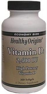 Vitamin D 2400 IU (360 Gels) Healthy Origins