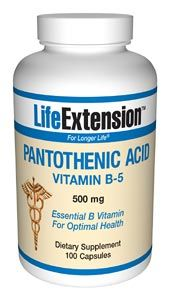 Pantothenic Acid (Vitamin B5) (500 mg 100 capsules)* Life Extension