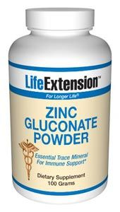Zinc Gluconate (100 grams powder)* Life Extension