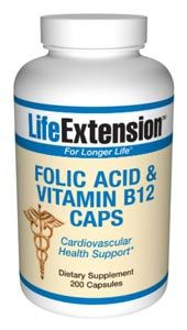 Folic Acid with Vitamin B12 (200 v-caps)* Life Extension