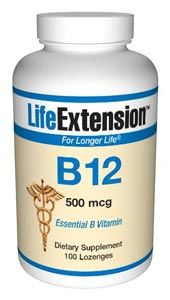Vitamin B12 (500 mcg 100 tablets (to be dissolved in the mouth))* Life Extension