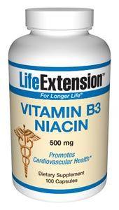 Vitamin B3 Niacin (500 mg 100 capsules)* Life Extension