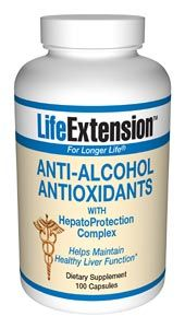 Anti-Alcohol Antioxidants with HepatoProtection Complex (100 capsules)* Life Extension