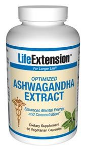 Optimized Ashwagandha Extract (stimulant free) (60 vegetarian capsules)* Life Extension