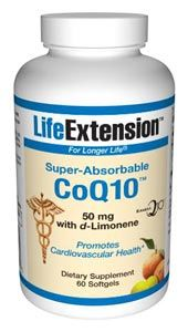 Super-Absorbable CoQ10™ with d-Limonene (50 mg 60 softgels)* Life Extension