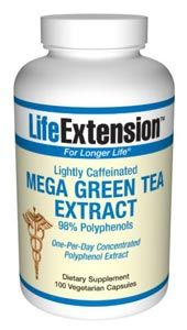 Mega Green Tea Extract (lightly caffeinated) (100 vegetarian capsules)* Life Extension