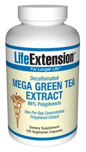 Mega Green Tea Extract (decaffeinated) (100 vegetarian capsules)* Life Extension