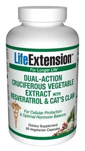 Dual-Action Cruciferous Vegetable Extract with Resveratrol & Cat's Claw (60 vegetarian capsules)* Life Extension