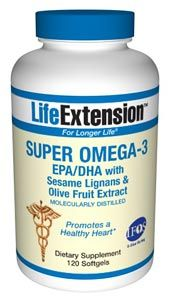 Super Omega-3 EPA/DHA with Sesame Lignans & Olive Fruit Extract (120 softgels)* Life Extension