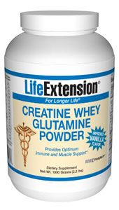Creatine Whey Glutamine Powder (Vanilla) (454 grams)* Life Extension