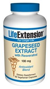 Grapeseed Extract with Resveratrol & Pterostilbene (100 mg 60 vegetarian capsules)* Life Extension