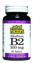 Vitamin B-2 Riboflavin (100 mg 90 tablets)* Natural Factors