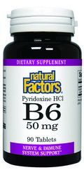Vitamin B-6 Pyridoxine HCL (50 mg 90 tablets)* Natural Factors