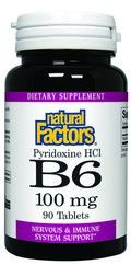 Vitamin B-6 Pyridoxine HCL (100 mg 90 tablets)* Natural Factors