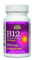 Vitamin B-12 Methylcobalamine (5000 mcg 60 chewable tablets)* Natural Factors