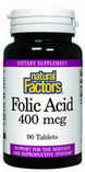 Folic Acid (400 mcg 90 tablets)* Natural Factors