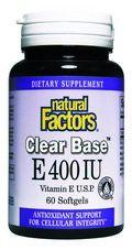 Clear Base Vitamin E (400 IU 60 softgels)* Natural Factors