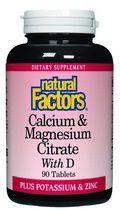 Calcium & Magnesium Citrate Plus D (90 tablets)* Natural Factors
