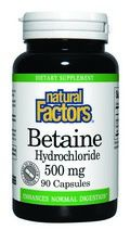 Betaine HCL (500mg 90 capsules)* Natural Factors