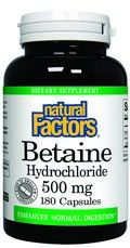 Betaine HCL (500 mg 180 capsules)* Natural Factors