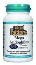 Mega Acidophilus Powder with FOS (2.64 oz) Natural Factors