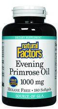 Evening Primrose Oil 1000 mg/ 100mg GLA  (180 softgels)* Natural Factors