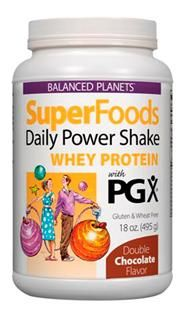 SuperFoods Daily Power Shake, Whey Protein with PGX (Chocolate, 18 oz)* Natural Factors