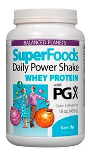 SuperFoods Daily Power Shake, Whey Protein with PGX (Vanilla, 18 oz)* Natural Factors