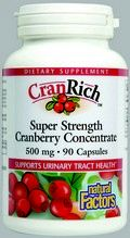 CranRich Super Strength Cranberry Concentrate (500 mg 90 capsules)* Natural Factors