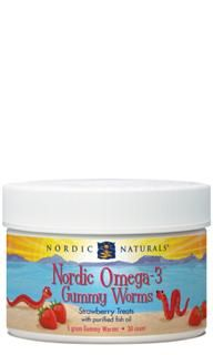 Nordic Omega-3 Gummy Worms (30 pcs- Strawberry)* Nordic Naturals