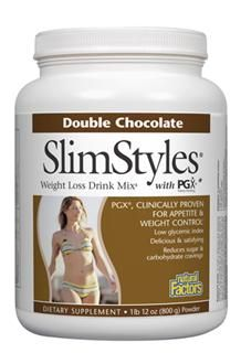 SlimStyles Weight Loss Drink Mix with PGX (Chocolate, 800 g)* Natural Factors