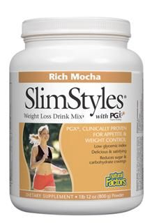 SlimStyles Weight Loss Drink Mix with PGX (Mocha, 800 g)* Natural Factors