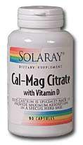 Cal-Mag Citrate with Vitamin D  (180 caps) Solaray Vitamins