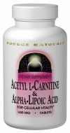 Acetyl L-Carnitine & Alpha-Lipoic Acid (650 mg 60 tabs) Source Naturals