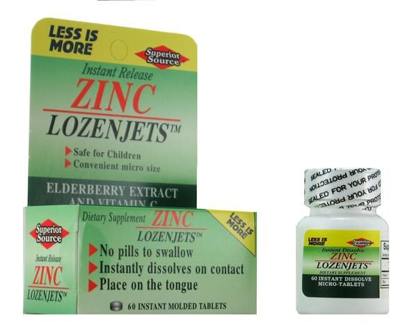 Zinc Lozenjets (No Shot, Quick Release, 60 Instant Dissolve Mini Tabs) | Zinc Lozenge Superior Source Vitamins