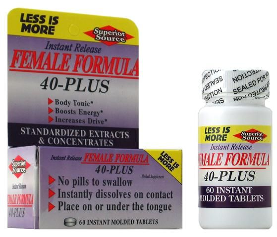 Female Formula 40 Plus (No Shot, Quick Release, 60 Instant Instant Dissolve Mini Tabs) Superior Source Vitamins