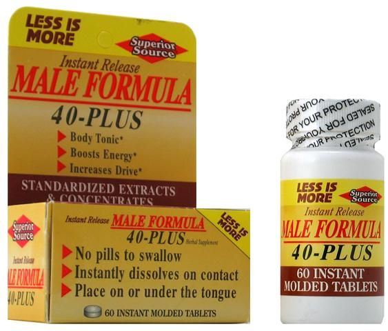Male Formula 40 Plus (No Shot, Quick Release, 60 Instant Instant Dissolve Mini Tabs) Superior Source Vitamins