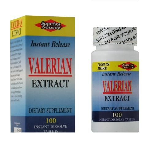 Valerian Extract  (No Shot, Quick Release, 100 Instant Dissolve Mini Tabs) Superior Source Vitamins