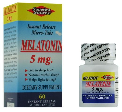 Melatonin 5 mg w/ Camomile (No Shot, Quick Release, 60 Instant Dissolve Mini Tabs) Superior Source Vitamins