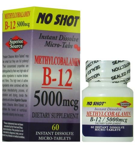 Methylcobalamin Vitamin B12 5000 mcg (No Shot, Quick Release, 60 Instant Dissolve Mini Tabs) Superior Source Vitamins