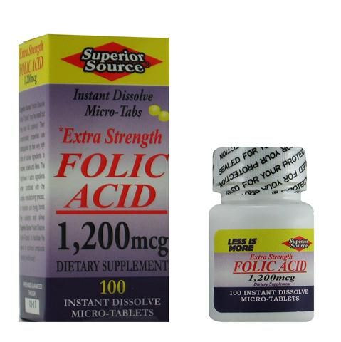 Extra Strength Folic Acid 1200 mcg (No Shot, Quick Release, 100 Instant Dissolve Mini Tabs) Superior Source Vitamins