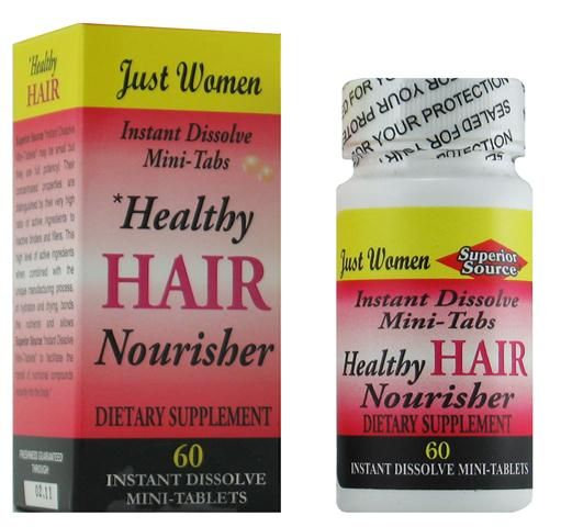 Just Women - Healthy Hair (No Shot, Quick Release, 60 Instant Dissolve Mini Tabs) Superior Source Vitamins