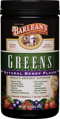 Organic Berry Flavored Greens (9.4 oz) Barleans Organic Oils