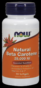 Natural Beta Carotene 25,000 IU (90 softgels) NOW Foods